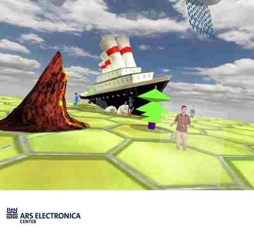 Obr. 17: V Ars electronice je možné i létat, vytvářet vlastní animace, zvolit si k pobytu jeden z virtuálních prostorů - nebo si takový prostor sám vytvořit a umístit do něj i svého dvojníka.