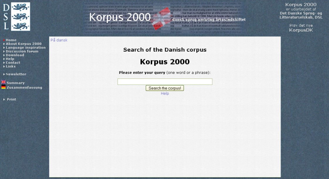 Obr. 1: Náhled titulní stránky Korpusu 2000
