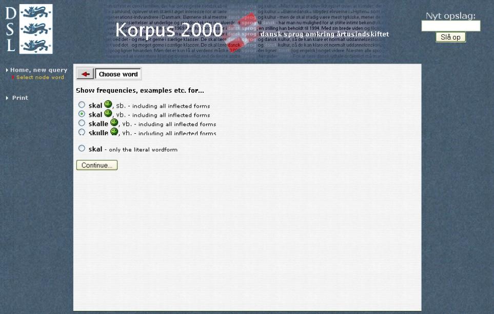 Obr. 2: Dialog pro výběr formy hledaného slova v Korpusu 2000