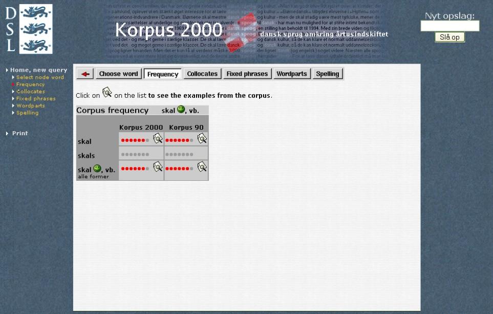 Obr. 3: Zobrazení frekvence výskytu vybraného slova v Korpusu 2000 a Korpuse 90