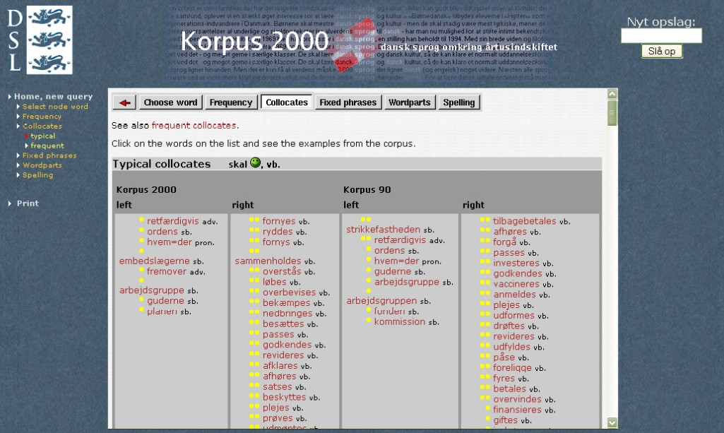 Obr. 6: Náhled kolokací slova skal (na zdraví) v Korpusu 2000