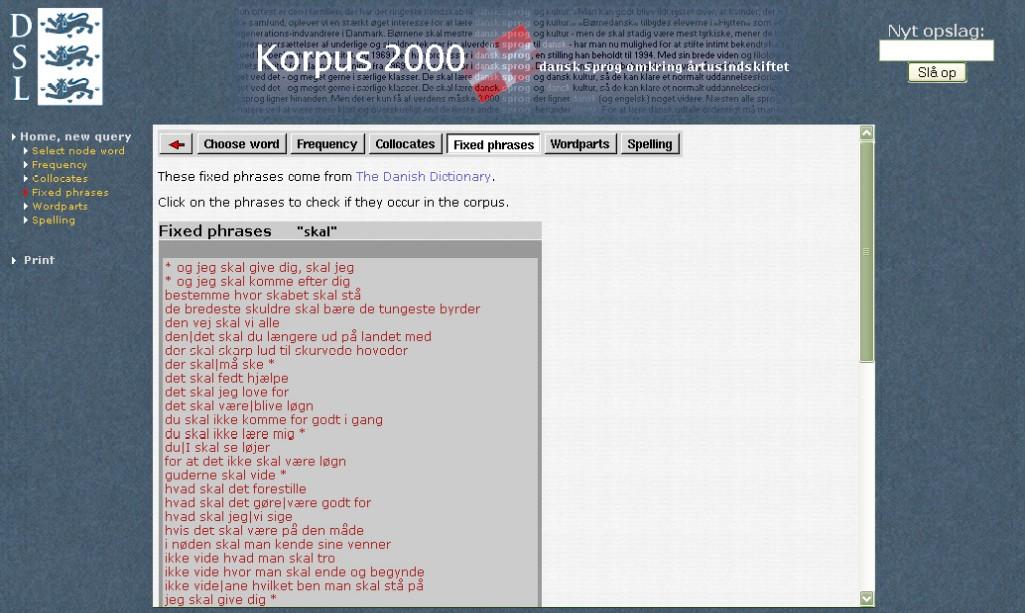 Obr. 7: Seznam nejběžnějších frází, ve kterých se vyskytuje slovo skal (Korpus 2000)