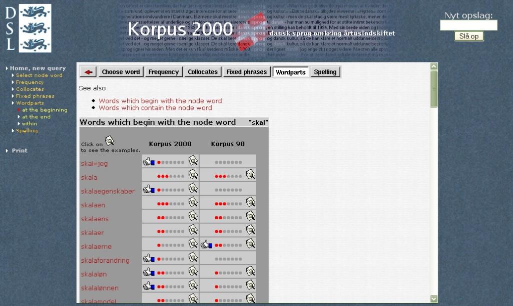 Obr. 8: Seznam slov odvozených či obsahujících slovo skal (Korpus 2000)