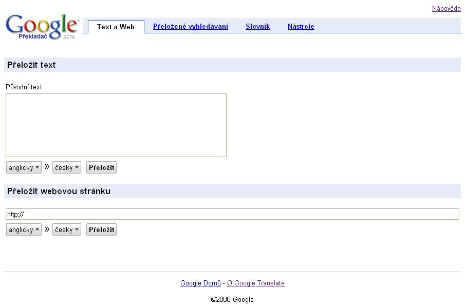 Obr. 1: Úvodní stránka Google Překladače