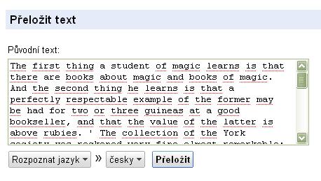 Obr. 2: Vstupní pole pro přeložení textu s již vloženým textem pro překlad a s vybranou možností rozpoznat jazyk