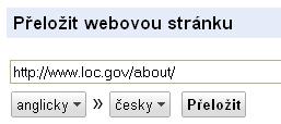 Obr. 3: Vstupní pole pro překlad webové stránky s již zadanou URL