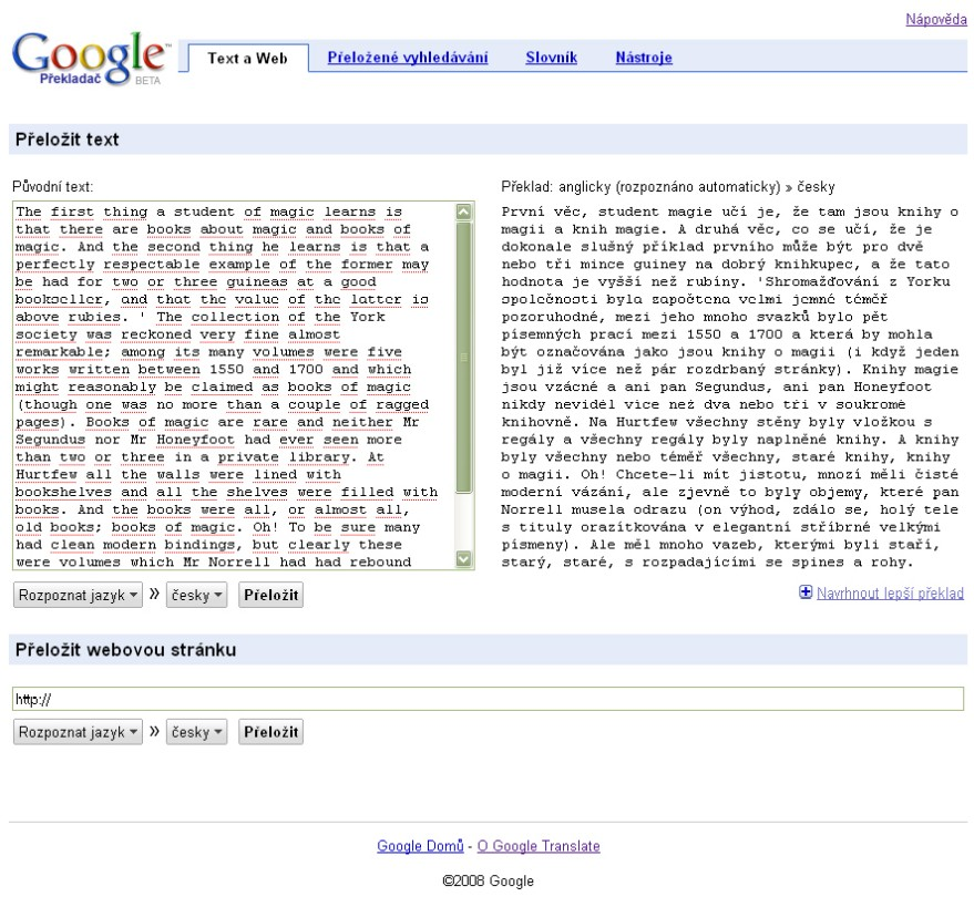 Obr. 4: Zobrazení překladu textu pomocí Google Překladače
