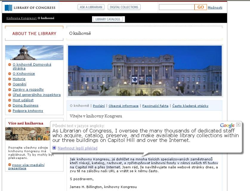"""Obr. 6: Zobrazení """"bubliny""""nad přeloženým textem webové stránky"""