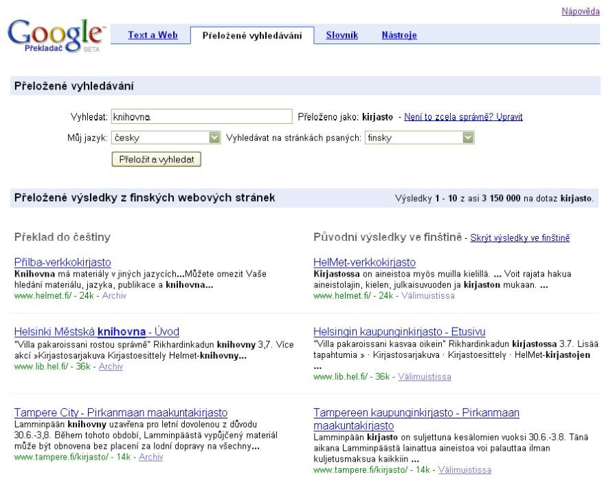 Obr. 8: Zobrazení výsledků přeloženého vyhledávání slova knihovna na finském webu