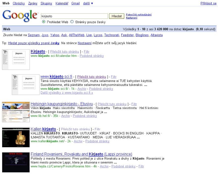 Obr. 9: Zobrazení výsledků hledání pomocí Googlu s nabídnutou možností překladu stránky (u posledního odkazu možnost překladu chybí)