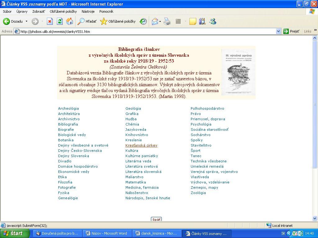 Obr. 2: Tematické prezeranie v databáze Bibliografia článkov