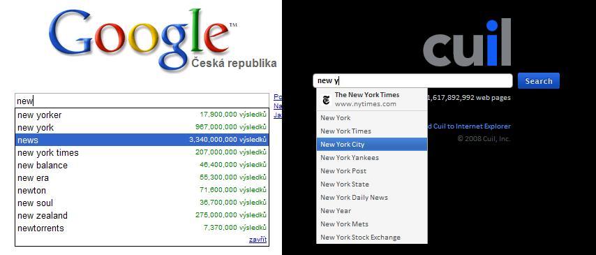 Našeptávač v Googlu a v Cuilu