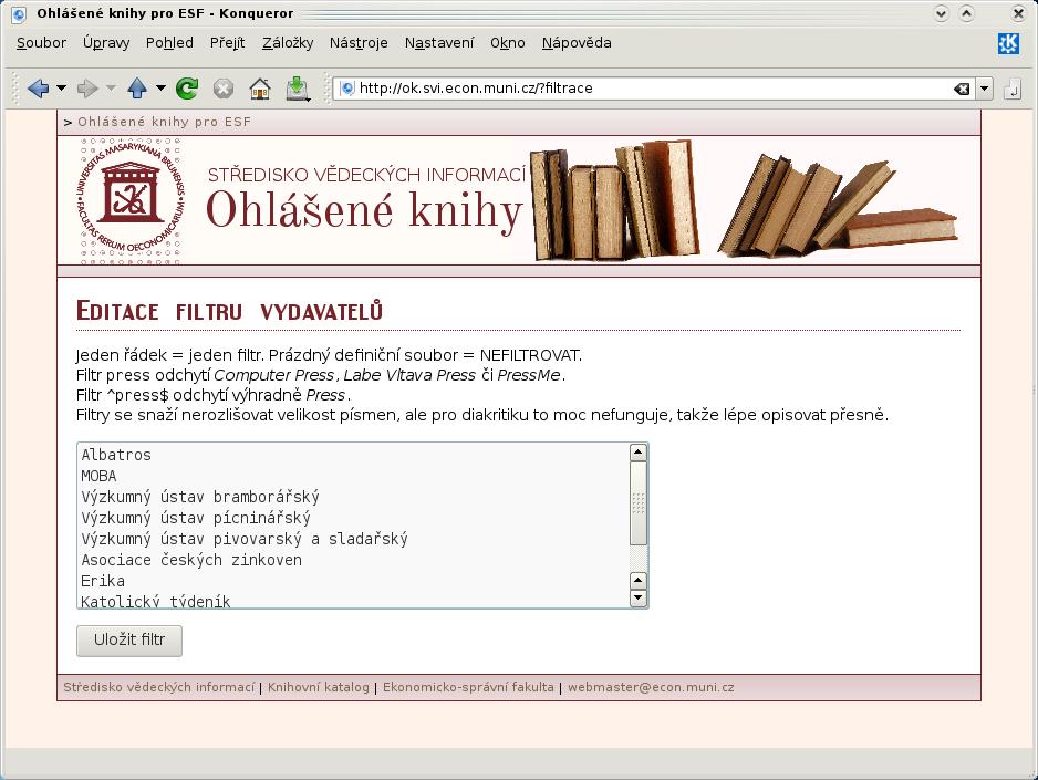 Editace filtru vydavatelů