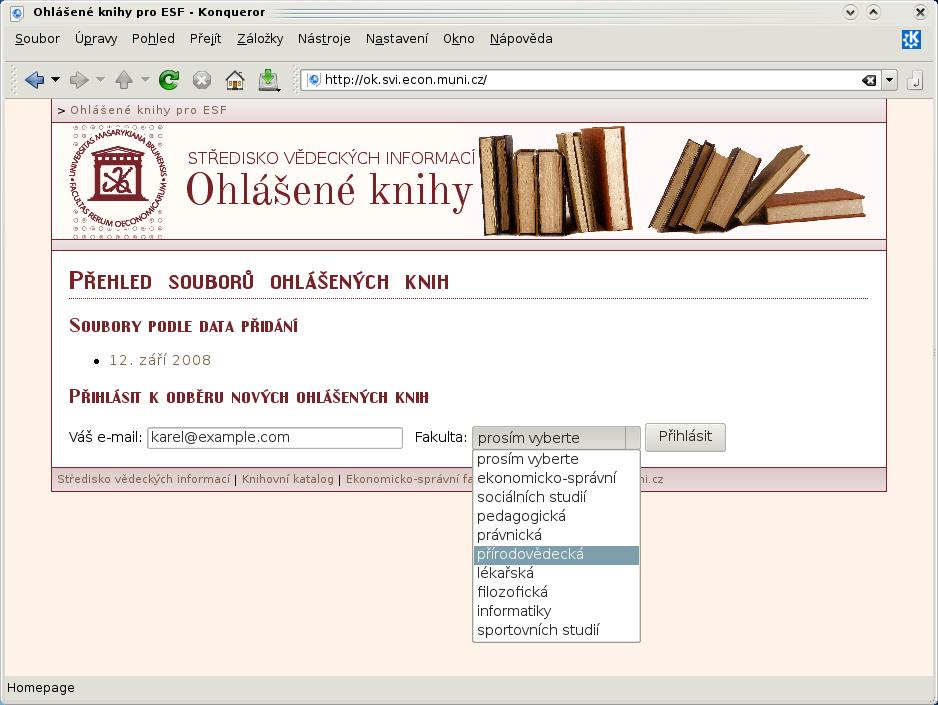 Uživatelské zobrazení domácí stránky
