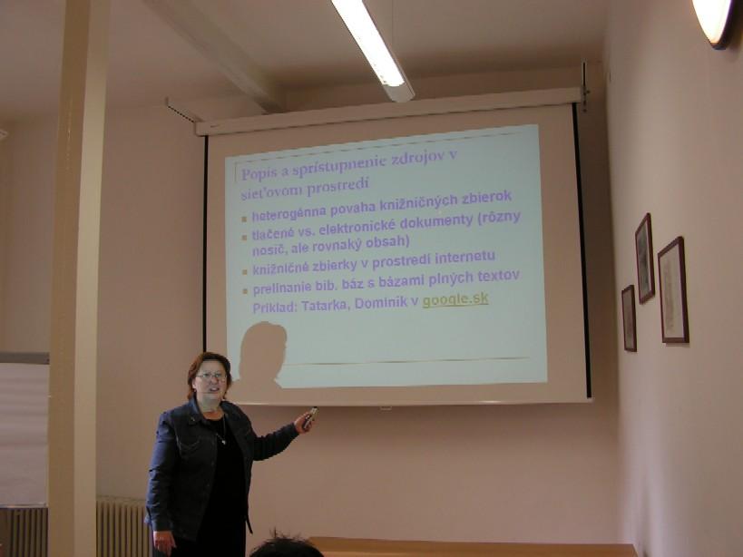 Prednášajúca Anna Peťová