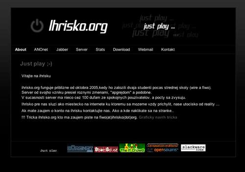 Hlavní stránka již nefunkčního portálu Ihrisko.org
