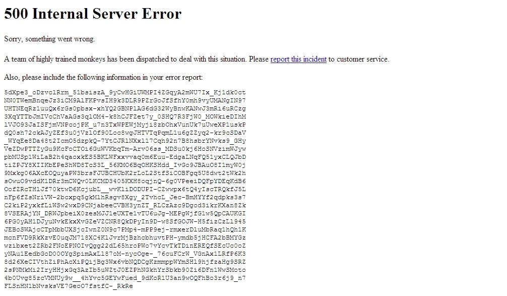 Uživatelsky přívětivá chybová hláška nejmenovaného serveru