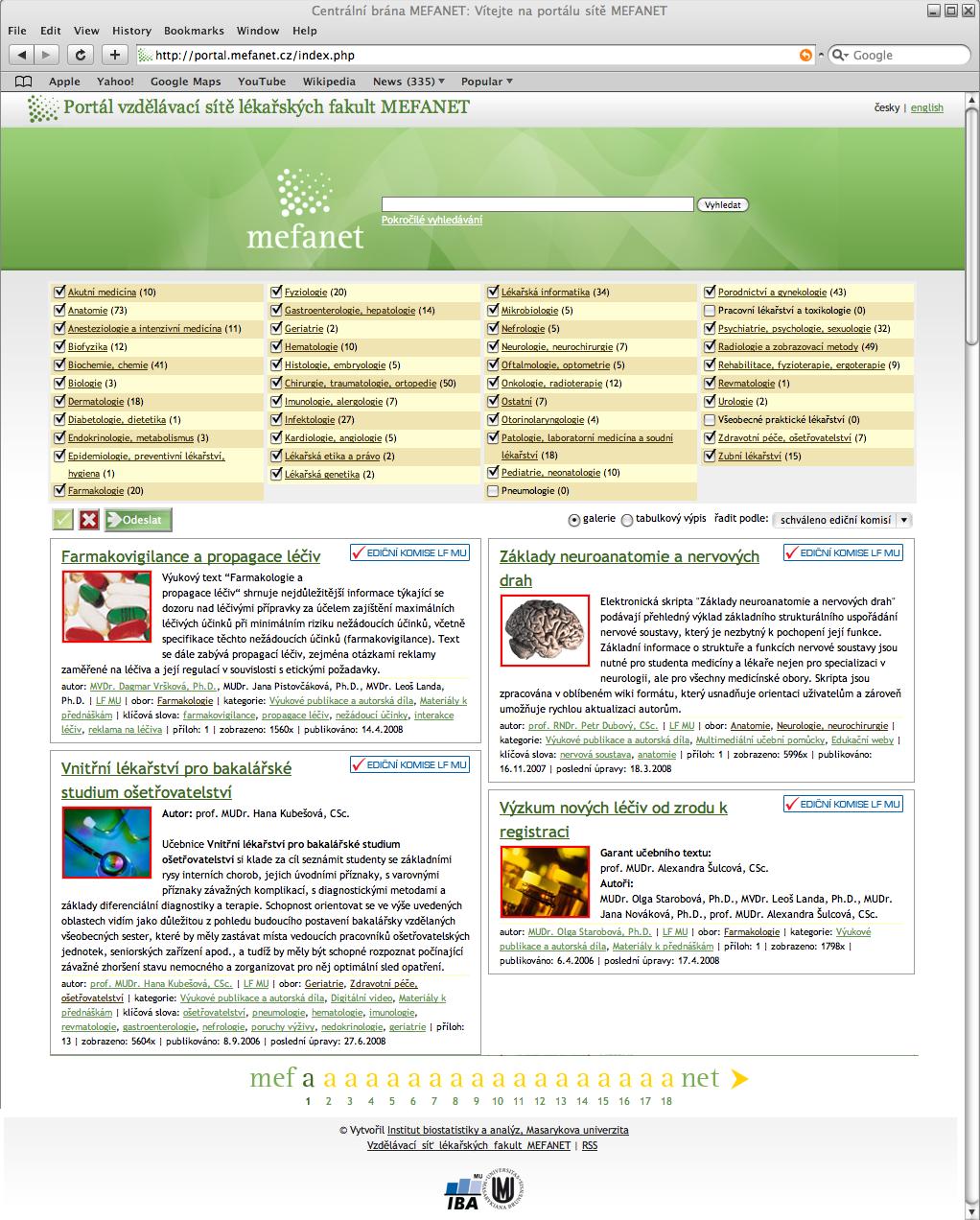 Obr. 2: Centrální brána (http://portal.mefanet.cz/) vzájemně propojuje edukační webové portály všech zúčastněných lékařských fakult