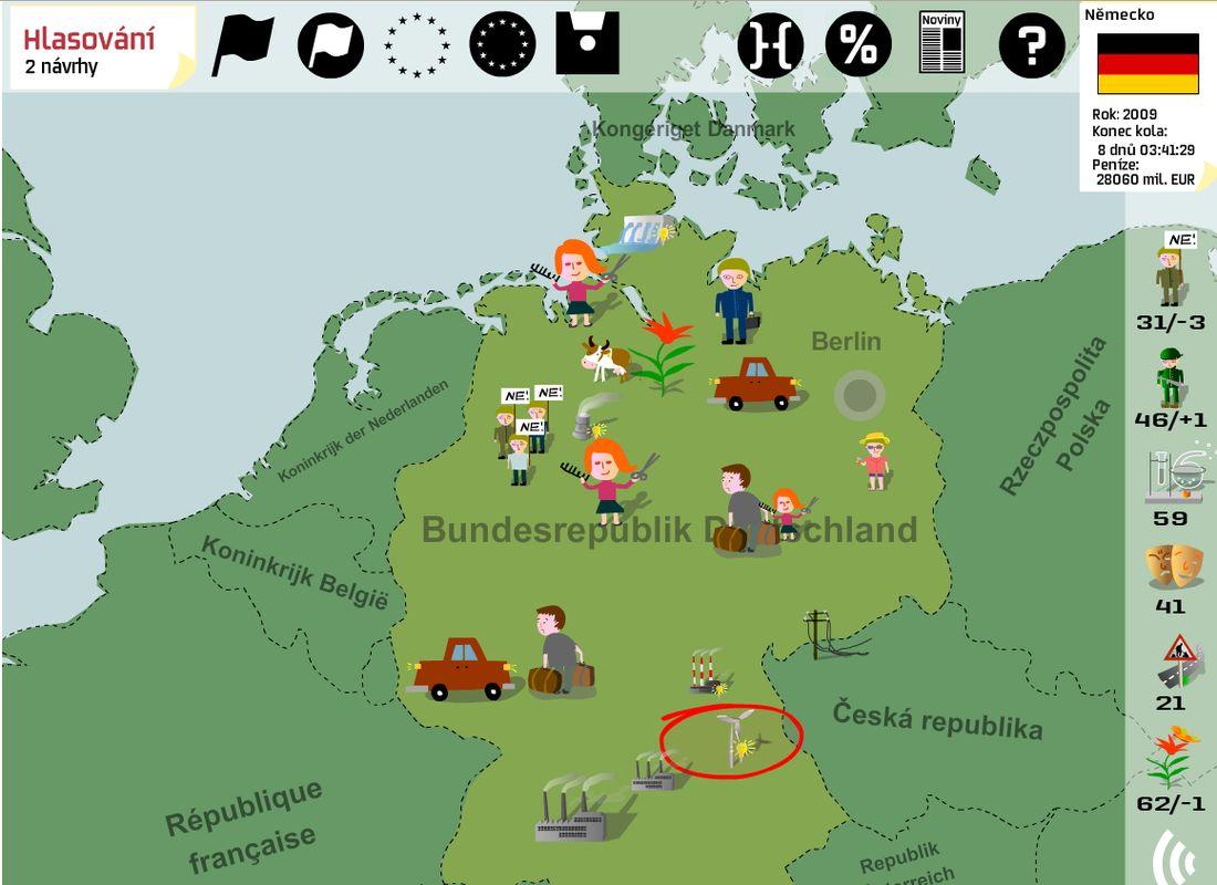 Ukázka ze hry: obrazovka řízení státu