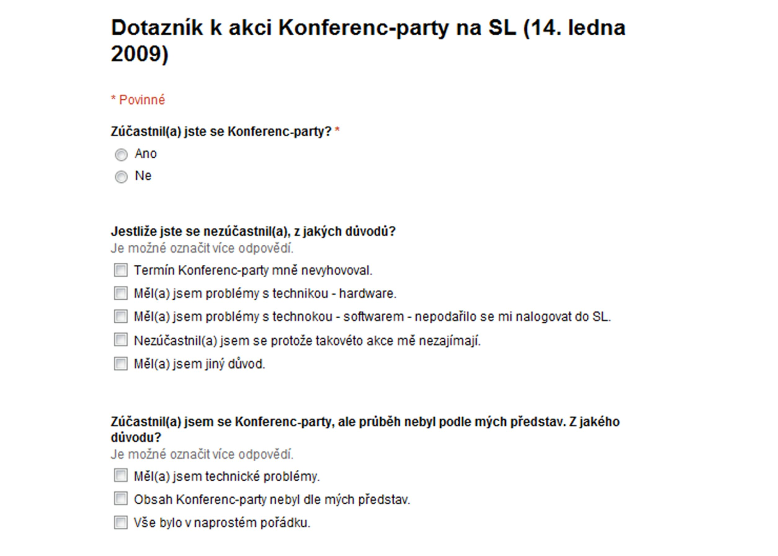 Dotazník k akci Konferenc-Party na SL – 1. část