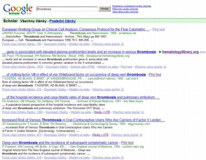 Obr. 4: Vyhledávač Google Scholar s odkazy na plné texty a na SFX menu UTB