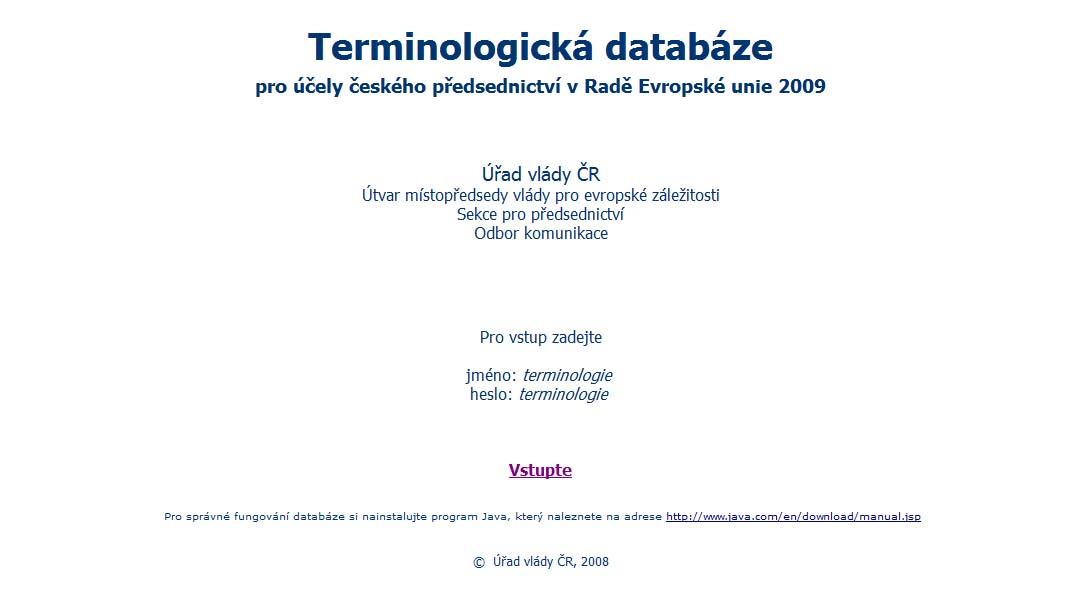 Obr. 1: Přístupová stránka do databáze