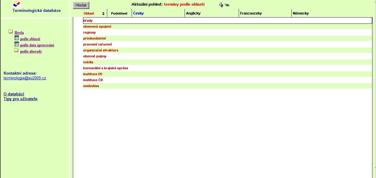 Obr. 2: Hlavní stránka po přihlášení