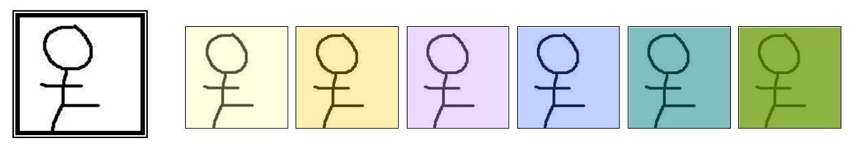 Obrázek 1: Dotazování podle vzoru – vzor a odpověď pro podobnost podle barev (obrázky v odpovědi jsou seřazeny podle vzdálenosti od vzoru)