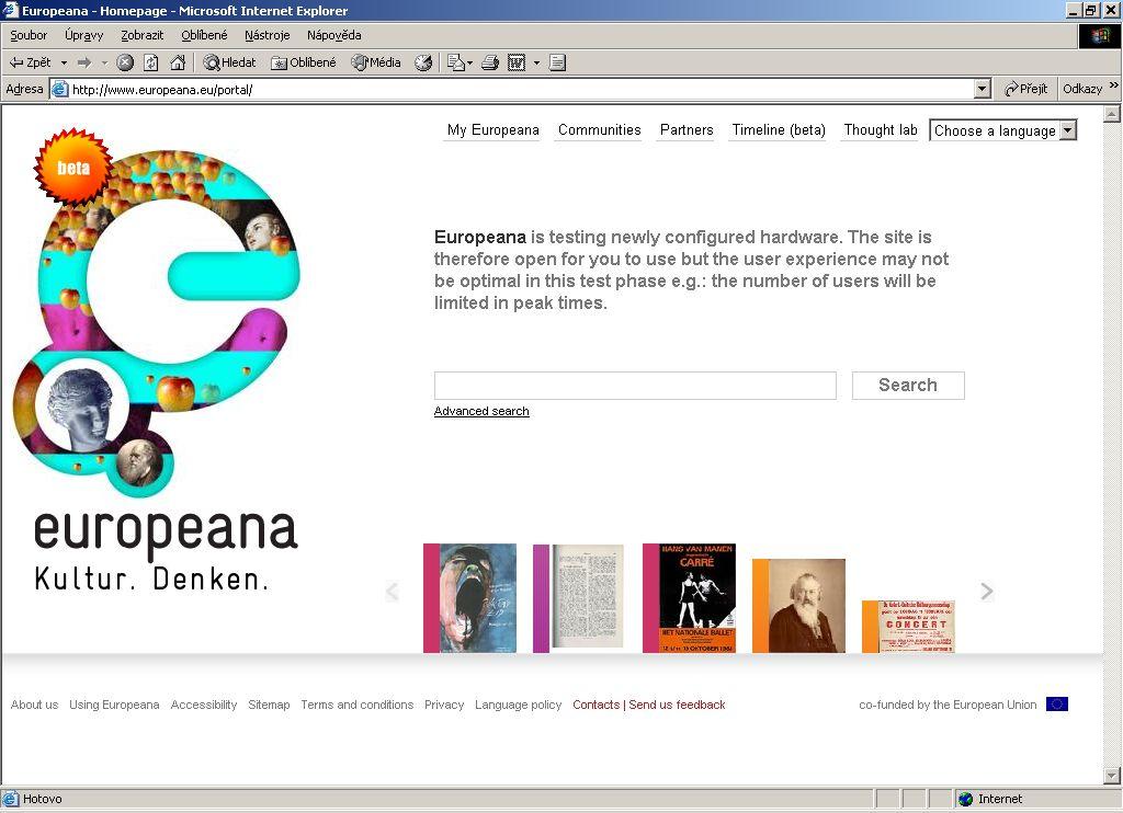 Obr. č. 1: Homepage portálu Europeana