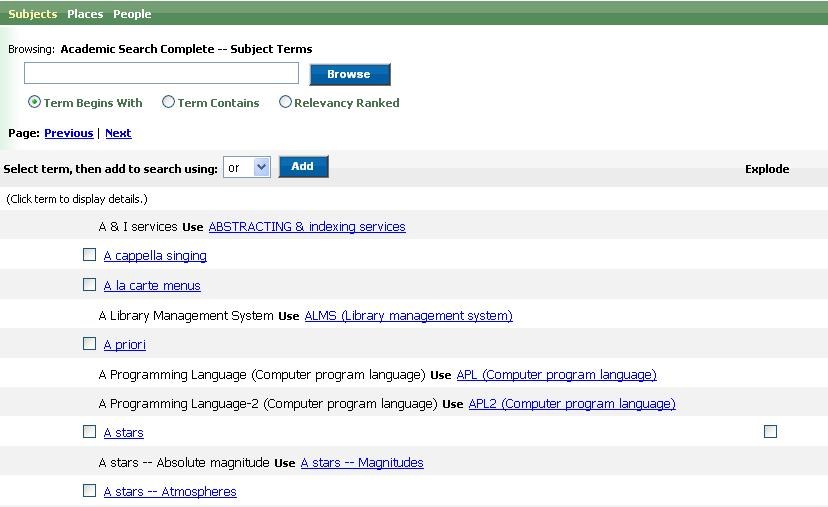 Obr. č. 2: Browse v EBSCOhost
