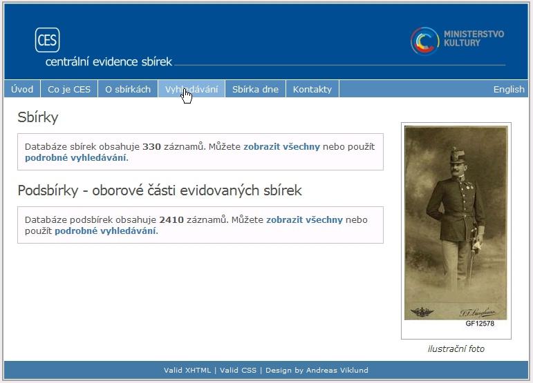 Obr. 1: Úvodní obrazovka vyhledávání