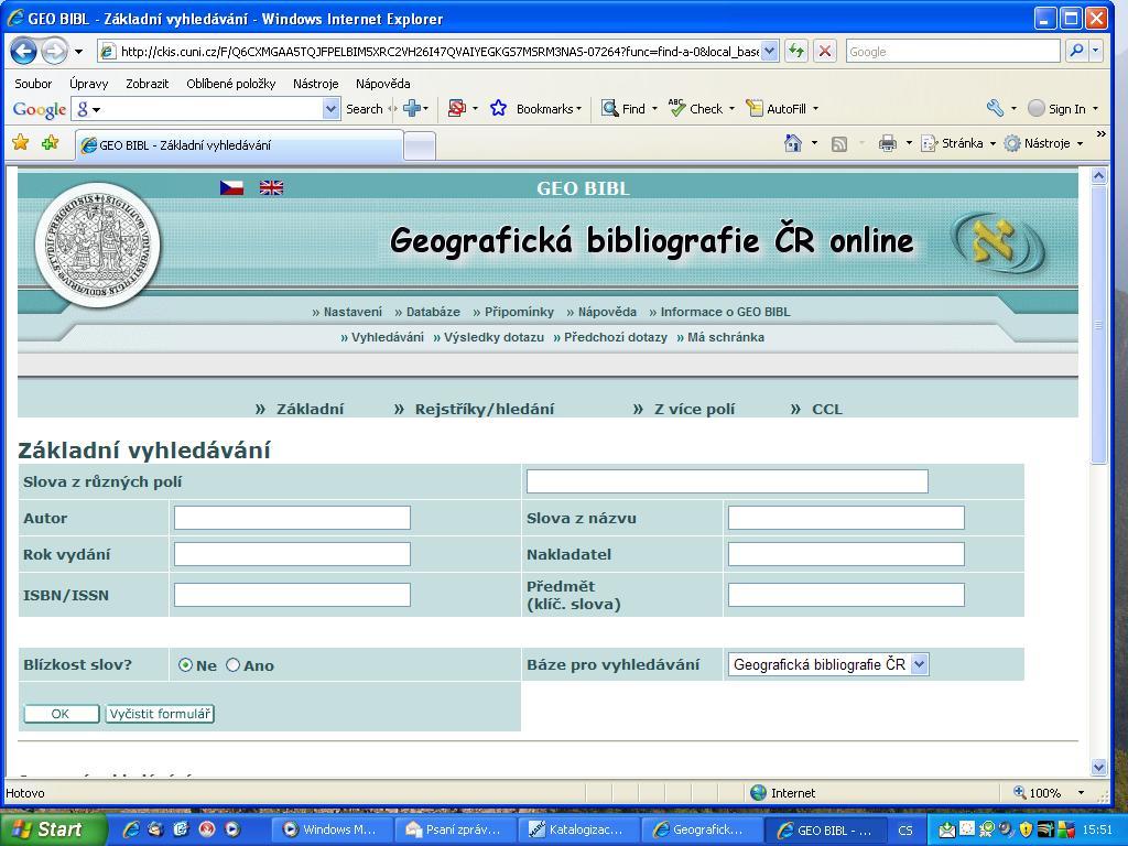 Obr. č. 2: Uživatelské rozhraní GEOBIBLINE