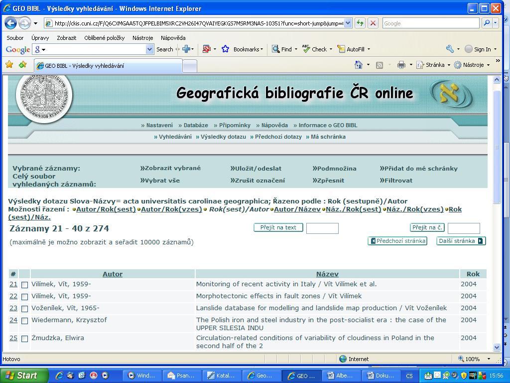 Obr. č. 1: Ukázka výsledků vyhledávání záznamů článků z časopisu Acta Universitatis Carolinae – Geographica v GEOBIBLINE