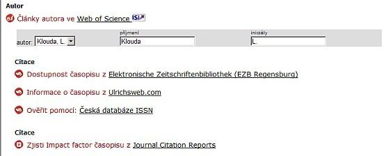 Obr. č. 1: SFX menu s možností zobrazení impakt faktoru časopisu v databázi Journal Citation Reports