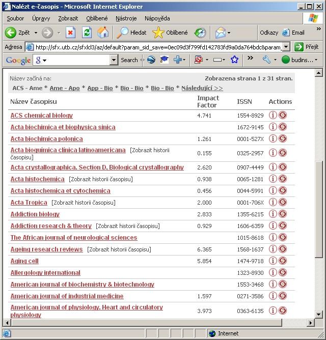 Obr. č. 3: Zobrazení impakt faktorů časopisů v seznamu časopisů (SFX A-Z list)