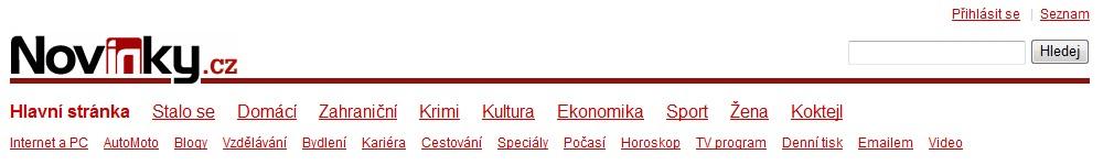 Záhlaví zpravodajského serveru Novinky.cz