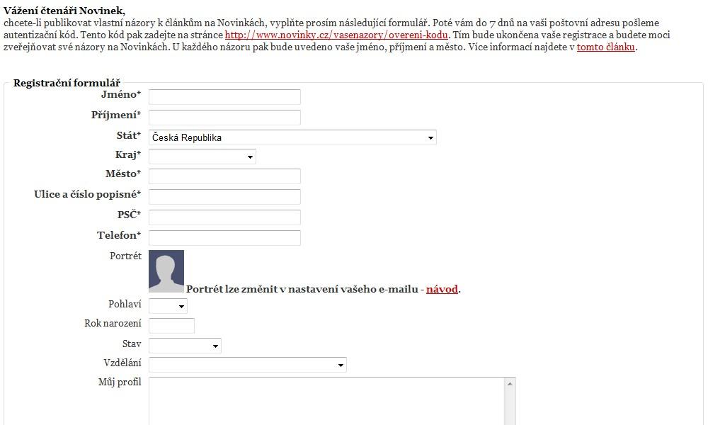 Ukázka registračního formuláře (povinné položky jsou označené hvězdičkou)