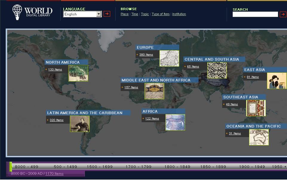 Obr. 1: Hlavní stránka Světové digitální knihovny