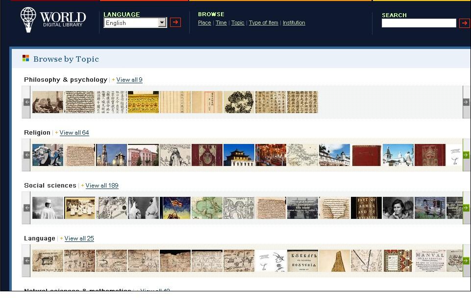 Obr. 2: Náhled tematické struktury obsahu Světové digitální knihovny