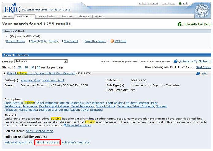 Obr. č. 2: Bibliografický záznam v databázi ERIC. SFX služby spouští zvýrazněná ikonka Find in a Library