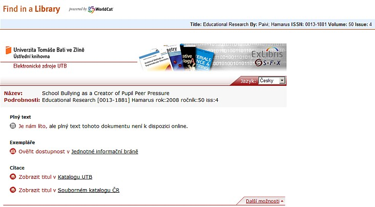 Obr. č. 3: SFX menu po přesměrování na příslušný institucionální SFX server