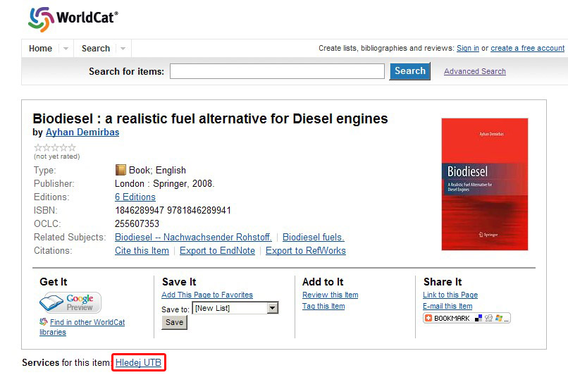 Obr. č. 4: Bibliografický záznam knihy v souborném katalogu WorldCat s možností ověření její dostupnosti na základě technologie SFX