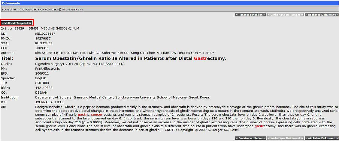 Obr. č. 5: Podrobné zobrazení bibliografického záznamu článku v databázi MEDLINE v rámci databázové centra DIMDI. Odkaz na ověření dostupnosti plného textu je zvýrazněn nahoře obrázku