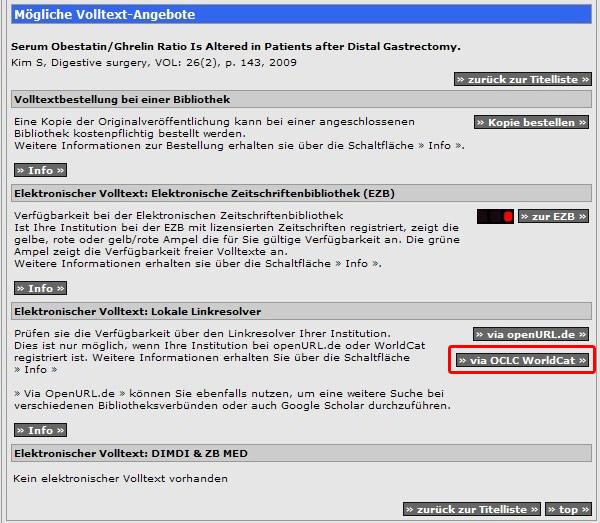Obr. č. 6: Nabídka dostupnosti plného textu v rámci služeb databázového centra DIMDI. Přesměrování na lokální SFX server probíhá přes zvýrazněnou ikonku via OCLC WorldCat