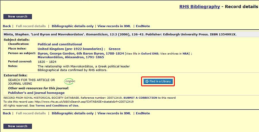 Obr. č. 7: Bibliografický záznam v databázi RHS. Linkování na lokální SFX server je realizováno přes zvýrazněnou ikonku Find in a Library