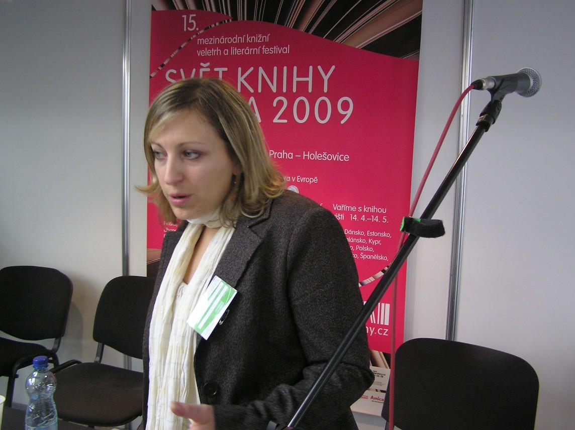 Obr. 3: Céline d'Ambrosio - vedoucí projektu nově zaváděné Ceny Evropské unie za literaturu (EUPL)