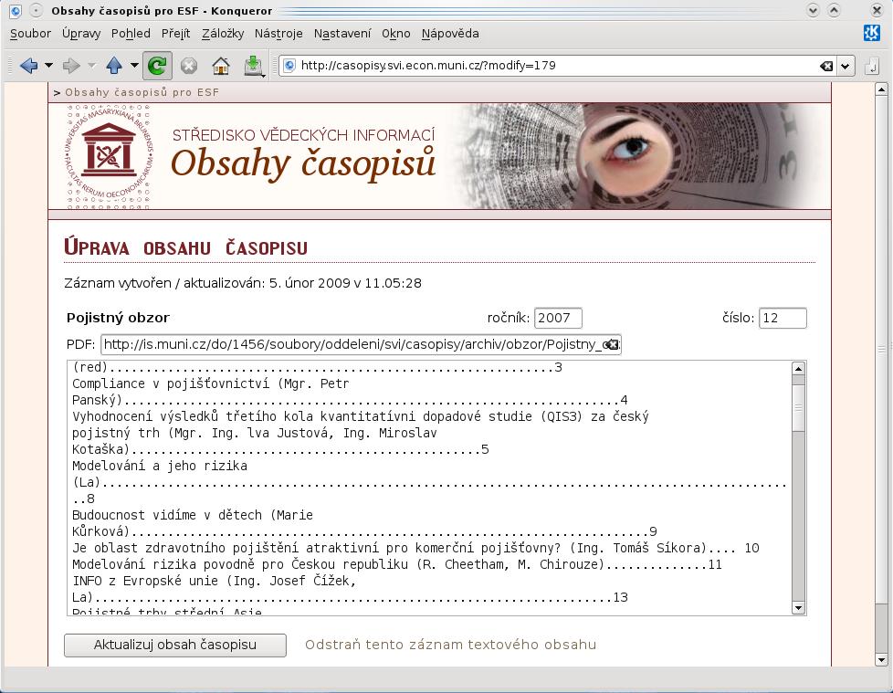 Ukázka administrátorské funkce – editace vybraného obsahu