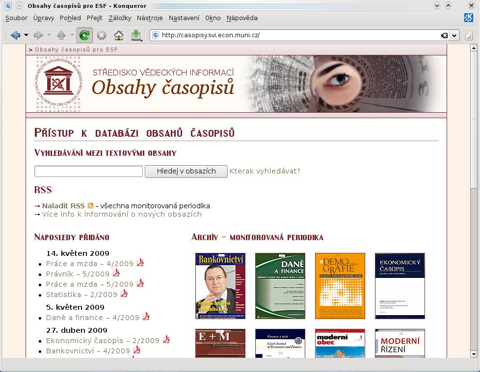 Uvítací strana aplikace s pobídkou k vyhledávání, přehledem naposledy přidaných obsahů a vstupem do archivu