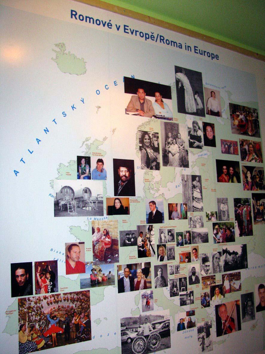 Mapa znázorňující rozšíření romské kultury v Evropě (autor Zuzana Rousková)