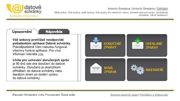 Ukázka hlavního menu systému ISDS